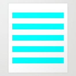 Electric cyan - solid color - white stripes pattern Art Print