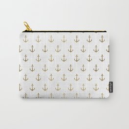 Elegant nautical faux gold white modern anchor Carry-All Pouch