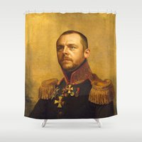 replaceface Shower Curtains featuring Simon Pegg - replaceface by replaceface