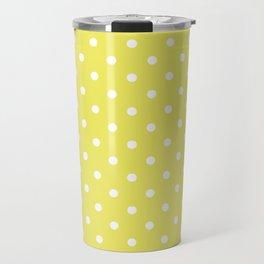 Citron Lemon-Lime and White Polka Dots Travel Mug