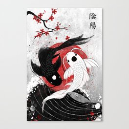 Koi fish - Yin Yang Canvas Print