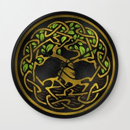 Tree of life  -Yggdrasil - Gold & Green  foil Wall Clock