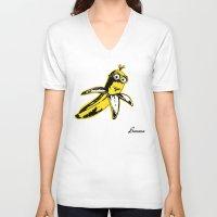 banana V-neck T-shirts featuring Banana by Thomas Orrow