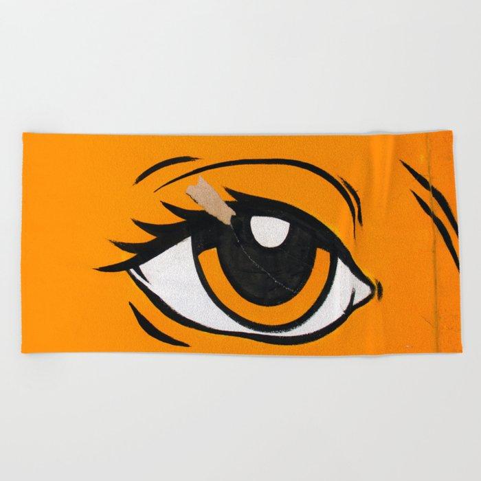 Eye orange 4 Beach Towel