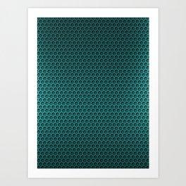 Metallic Aqua Graphite Honeycomb Carbon Fiber Art Print