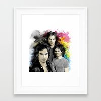 the vampire diaries Framed Art Prints featuring Inspired by Damon Salvatore and the Vampire Diaries by Purshue feat Sci Fi Dude