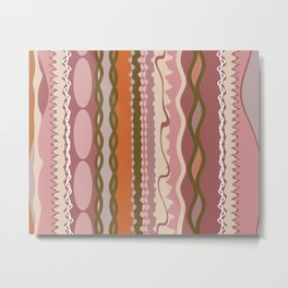 Assorted Zigzags And Waves Pink Green Orange Metal Print