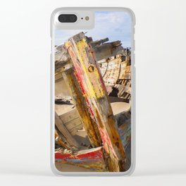 BOAT WRECK AT CROW POINT BEACH NORTH DEVON Clear iPhone Case