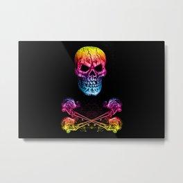 Skull And Crossbones Rainbow Metal Print