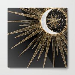 Sun Moon Gold Doodles Mandala Black Design Metal Print