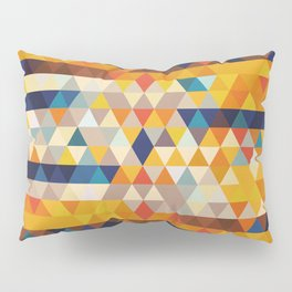 Geometric Triangle - Ethnic Inspired Pattern - Orange, Blue Pillow Sham