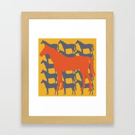 Orange Graphic Horse on Yellow by Ron Brick Framed Art Print