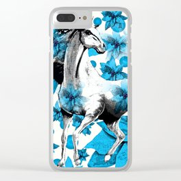 HORSE AND FLOWERS Clear iPhone Case