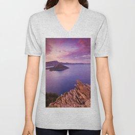 Crater Lake Sunset Unisex V-Neck