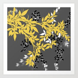 TREE BRANCHES YELLOW GRAY  AND BLACK LEAVES AND BERRIES Art Print