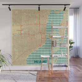 Miami Map Retro Wall Mural