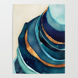 Abstract Blue with Gold Poster
