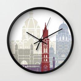 Mumbai skyline poster Wall Clock