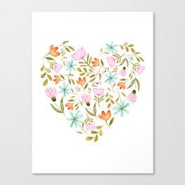 Sweet Garden   Flower Watercolor Illustration Pattern Canvas Print