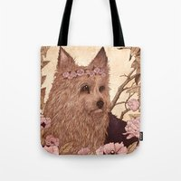 yorkie Tote Bags featuring Yorkie by Angela Rizza