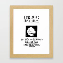 Black Death Star 'Time Share' digital print Framed Art Print