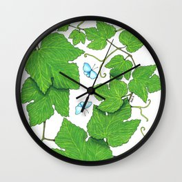 Grape Leaves Wall Clock