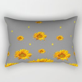 RAINING GOLDEN STARS YELLOW SUNFLOWERS GREY COLOR Rectangular Pillow