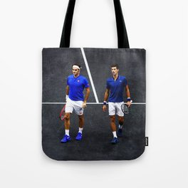 Federer and Djokovic Doubles Tote Bag