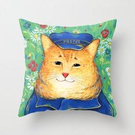 Postal cat Throw Pillow