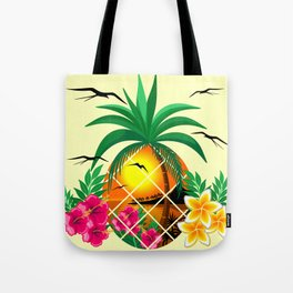 Pineapple Tropical Sunset, Palm Tree and Flowers Tote Bag