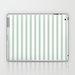 Mattress Ticking Wide Striped Pattern in Moss Green and White Laptop & iPad Skin