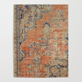 Vintage Woven Navy and Orange Poster