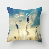carpe diem Throw Pillows featuring Carpe Diem by Sandra Arduini