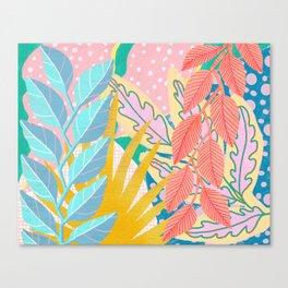 Modern Jungle Plants - Bright Pastels Canvas Print