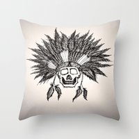 skeleton Throw Pillows featuring Skeleton by TwistedHand