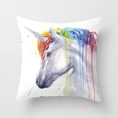 Rainbow Unicorn Watercolor Animal Magical Whimsical Animals Throw Pillow