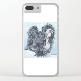 Tibetan Terrier dog art from an original painting by L.A.Shepard Clear iPhone Case