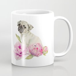 Pug and Peonies | Watercolor Illustration Coffee Mug