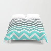 grey Duvet Covers featuring Tiffany Fade Chevron Pattern by RexLambo
