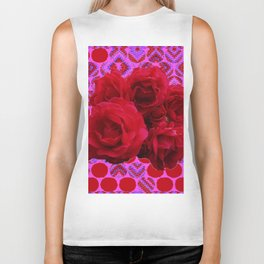 CLUSTER OF RED ROSES ON  RED-VIOLET ABSTRACT Biker Tank