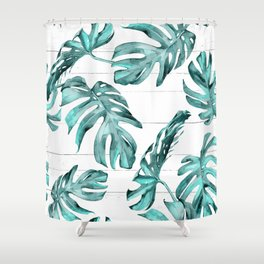 Turquoise Palm Leaves on White Wood Shower Curtain
