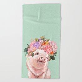 Baby Pig with Flowers Crown in Pastel Green Beach Towel