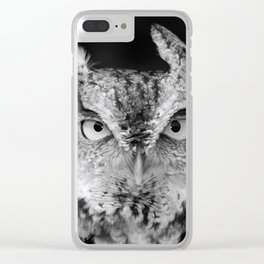 Screech Owl Stare Black and White Clear iPhone Case