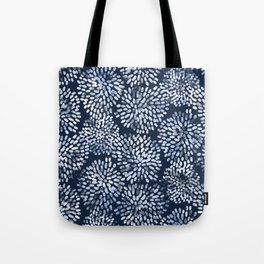 Abstract Navy Watercolor Line Flowers Tote Bag