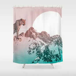 Leopard and the mountains Shower Curtain