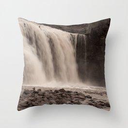 Waterfall in Sepia Tone Throw Pillow