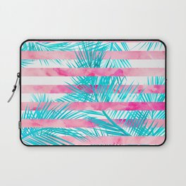 Modern pink turquoise tropical palm tree watercolor stripes pattern Laptop Sleeve