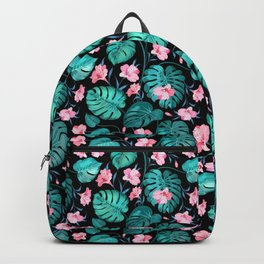 Tropical teal pink black vector floral pattern Backpack