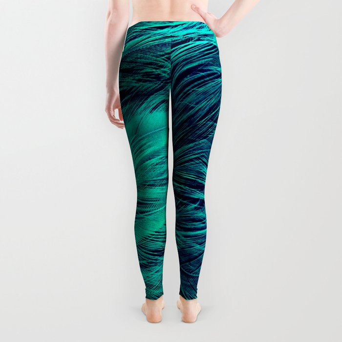 Teal Feathers Leggings