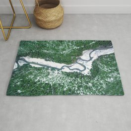 AERIAL. River Lakaja in woods of Labanoras, Lithuania Rug
